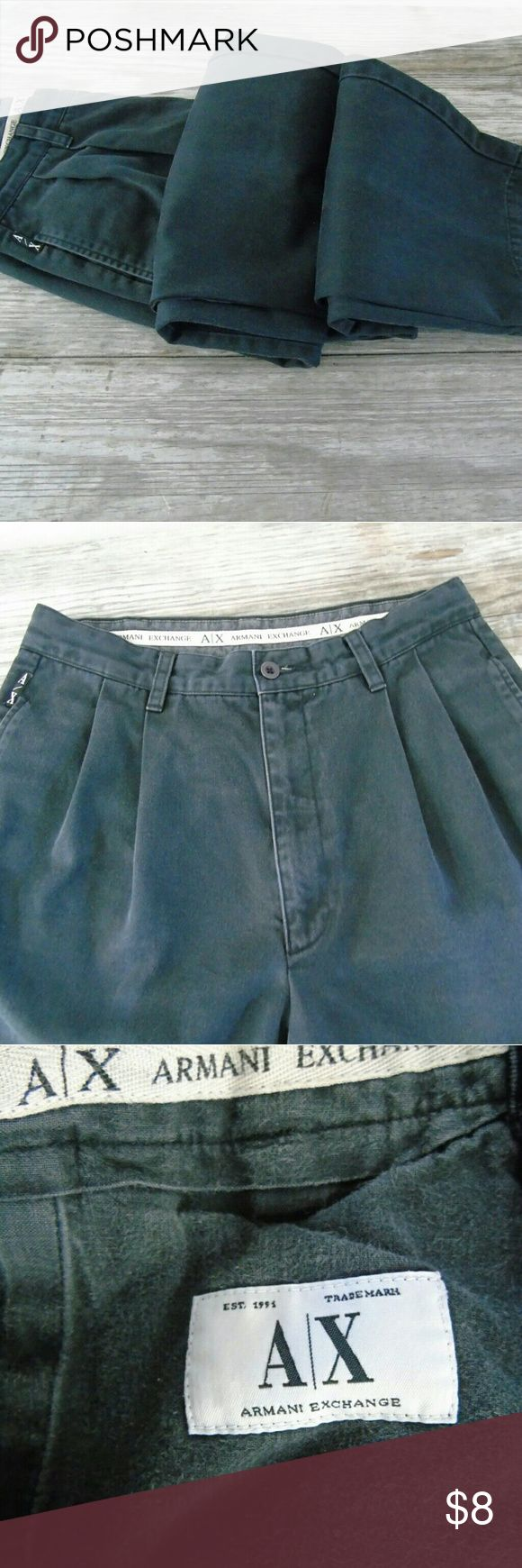 """Armani Exchange Faded Black Pants Workwear Armani Exchange Faded Black Heavy Cotton Pants Workwear Khakis Chinos . Pleated Front Workwear Trousers Jeans .Heavy Cotton .Faded Black, pleated front , waistband loops , 2 side pockets , 2 back pockets .Tagged 31 x 32 (but run smaller) , when lying flat waist 15"""" inseam 31""""  rise 12 """" hips 20"""" and 43"""" long . Armani Exchange Pants Straight Leg"""