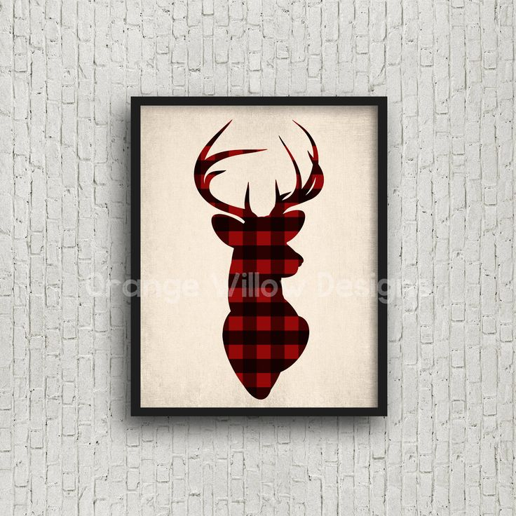 Deer Head Buck Buffalo Check Red and Black plaid Holiday Christmas Rustic Woodland Art Printable (5AOWDe54) Instant download Art Print Deer by OrangeWillowDesigns on Etsy