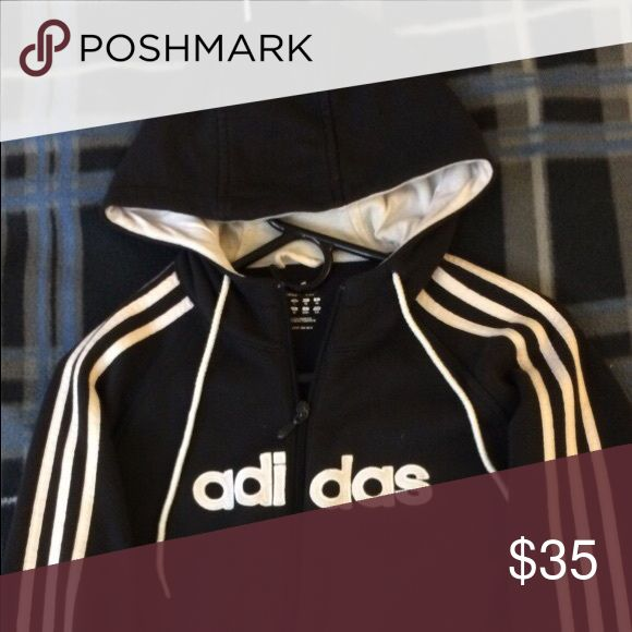 Black and white Adidas zip up hoodie Black and white Adidas zip up hoodie. Men's size S. Gently worn but kept clean. Adidas Shirts Sweatshirts & Hoodies