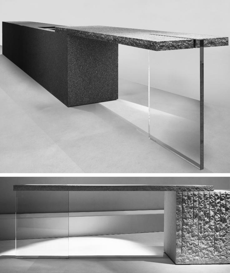 #Kitchen cabinet CS 501 by HENRYTIMI | #design Claudio Silvestrin #stone #glass