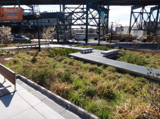 A 1.5 acre area of Long Island City has been transformed from a commuter parking lot into an eco-friendly green space. Dutch Kills Green, officially opened by Mayor Michael Bloomberg on April 4, features a wetlands park of 489 native trees and grasses which will naturally filter pollutants from storm water. The mini-park sits alongside pedestrian walkways and bike paths to create a usable, peaceful green space in the rapidly evolving post-industrial Queens waterfront neighborhood.