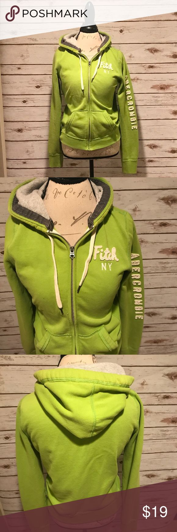 Abercrombie & Fitch Women's Zip-Up Hoodie Women's lime green zip up hoodie. Good condition. One small noticeable spot on front (see last photo) Size L Abercrombie & Fitch Tops Sweatshirts & Hoodies