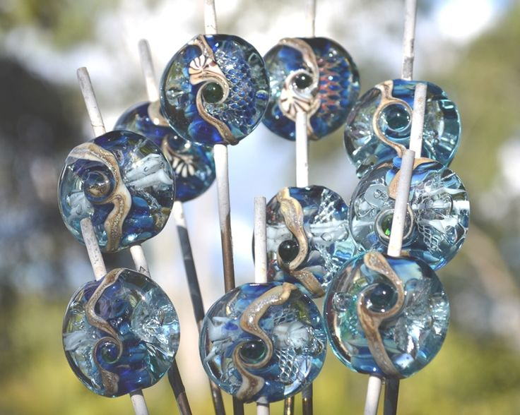 Seabed Series - small focals and beads for bracelets - by Su Bishop, Xandolla Wearable Art
