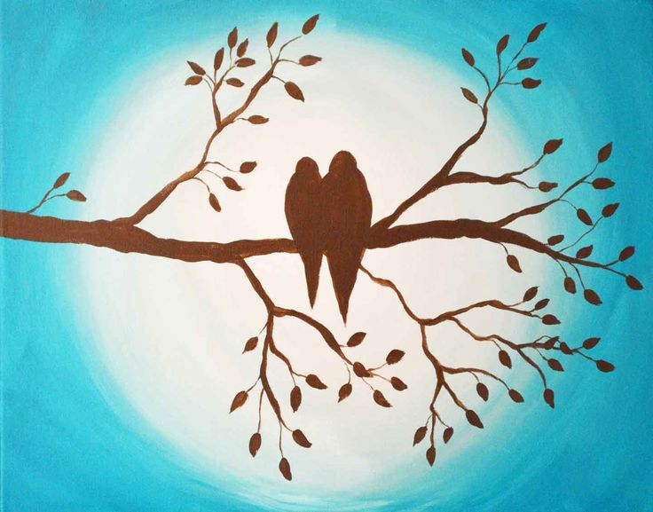 This silhouette of two birds on a branch is painted on an ombre turquoise background.