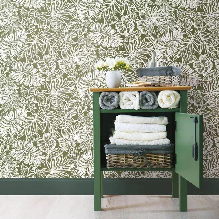 Batik Tropical Leaf Peel And Stick Wallpaper - RoomMates ...