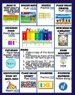 3rd, 4th, 5th grade Place Value review or enrichment
