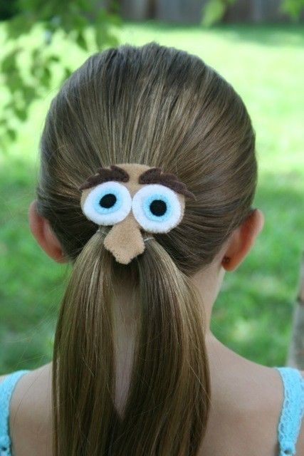 Mustache activities:  What a cute idea.  A Mr. Mustache Man Felt Hair Clip for a pony tail, by River Moth on Etsy.