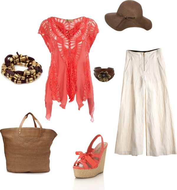"""""""Wide Leg Linen Pant outfit for Cruise or Market day"""" by beth-parrish on Polyvore"""