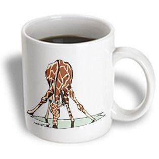 3dRose - Florene Childrens Art II - Giraffe Drinking Water - 11 oz mug