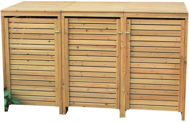 Woodside Triple Wooden Outdoor Wheelie Bin Cover Storage Cupboard Screening Unit: Amazon.co.uk: Garden & Outdoors