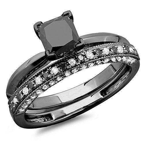 @blackdiamondgem 1.50 Carat (ctw) Black Rhodium Plated 14K White Gold Black & White Diamond Ring Set 1 1/2 CT (Size 6)by DazzlingRock Collection http://blackdiamondgemstone.com/jewelry/wedding-anniversary/bridal-sets/150-carat-ctw-black-rhodium-plated-14k-white-gold-black-white-diamond-ring-set-1-12-ct-size-6-com/