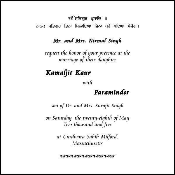 Sikh Wedding Card Wording Marriage Invitation Wordings Parekh