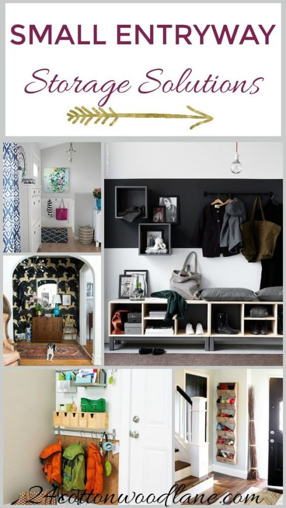 Storage solutions for small entryways. #foyerideas #storage #entrywaystorage #storagesolutions