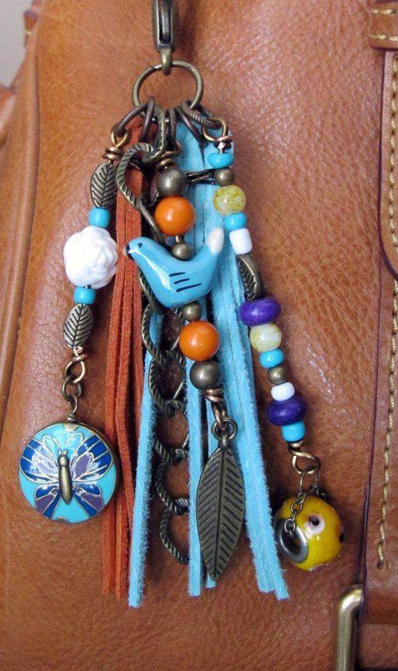 Boho Purse Charm Charm Tassel Zipper Pull Key by ThePaintedCabeza