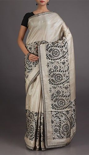 Rupal Pristine Beige With Black Embroidery Charming Chikankari Saree