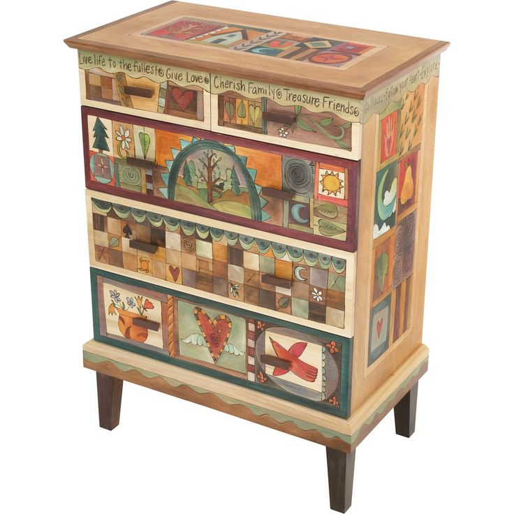 Sticks creates this artistic one-of-a-kind dresser constructed of hard wood. Hand drawn whimsical designs are burnt in, and then painted. Handmade in the USA.