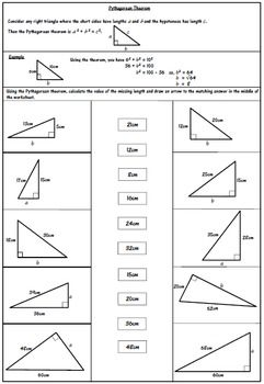 An additional worksheet activity to the one already available in my store asking students to solve the problems and match to the answers on the page.An answer sheet is included.Click the link below if you would like to view the other activity.Pythagorean Theorem - Calculating the length of the hypotenuse