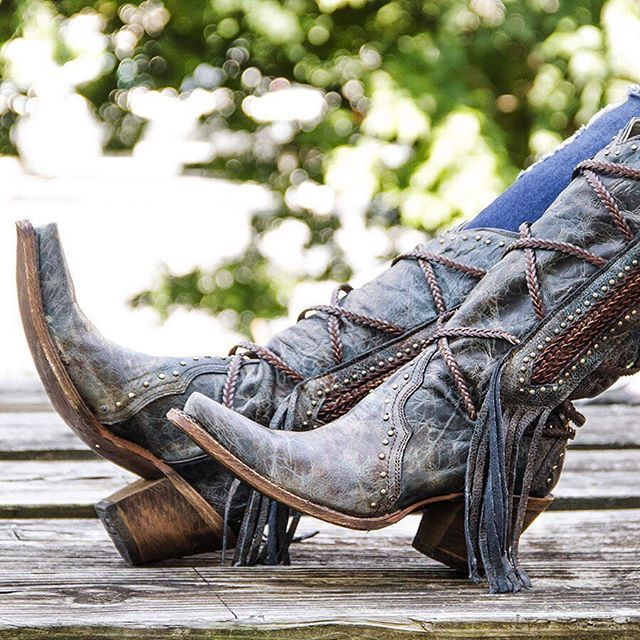 Can't get over the fringe and braided rope details on these new blue womens Corral cowboy boots