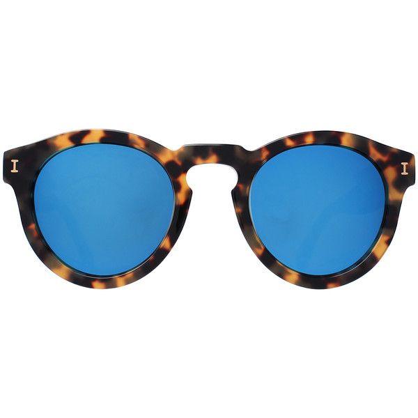 Illesteva Leonard Mirrored Sunglasses ($195) ❤ liked on Polyvore featuring accessories, eyewear, sunglasses, round frame sunglasses, blue lens sunglasses, mirror lens sunglasses, illesteva sunglasses and tortoise shell sunglasses