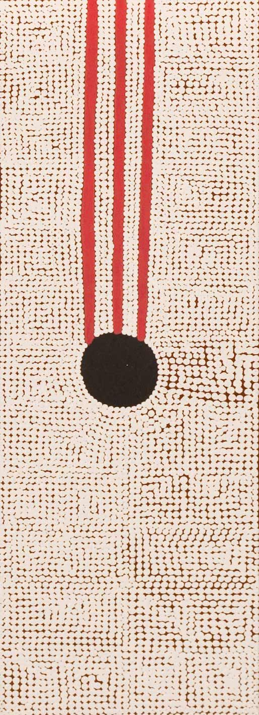 Mavis Darkie    'Mina Mina'  2007 653/07 acrylic on linen 90 x 30cm - BALGO 07 26 JUNE - 4 AUGUST 2007 - Exhibitions - Gallery Gabrielle Pizzi - Exhibiting Contemporary Australian Aboriginal Art Melbourne | Fitzroy VIC