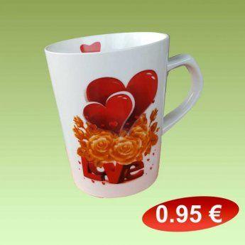 Κούπες πορσελάνης καρδούλες 0,95 €-Ευρω