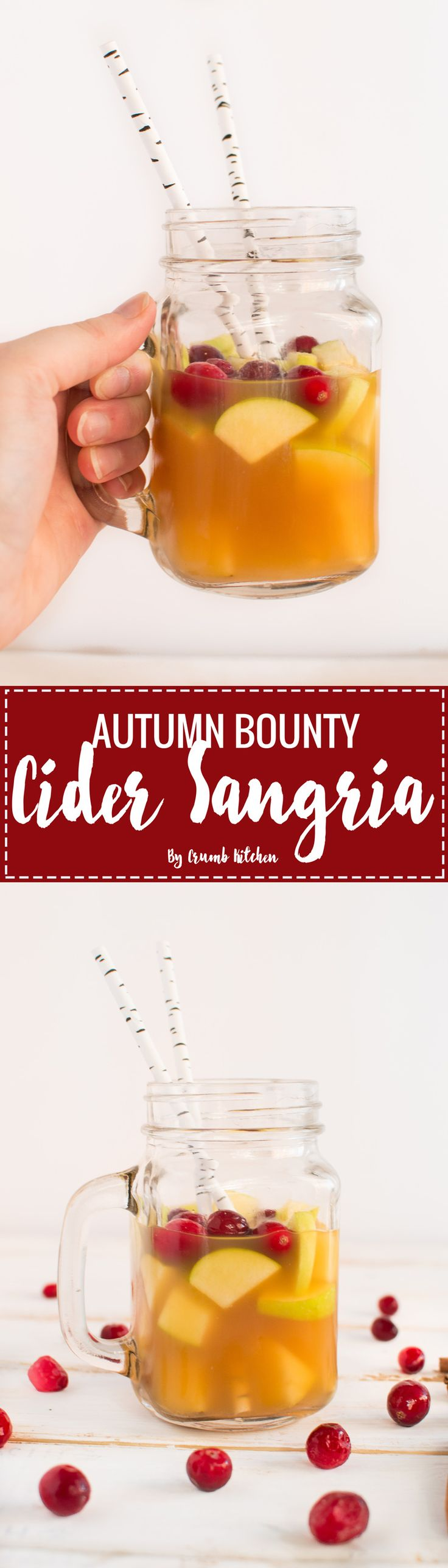 Fresh apples, pears, cranberries and spices fill this Autumn Bounty Cider Sangria with the best of Fall flavours. | Crumb Kitchen