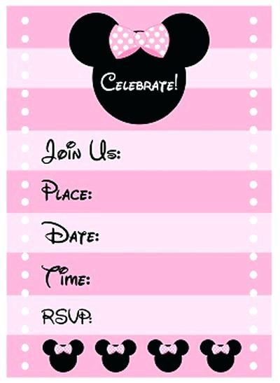 Free Minnie Mouse Birthday Party Invitation Template Invitations On Templ