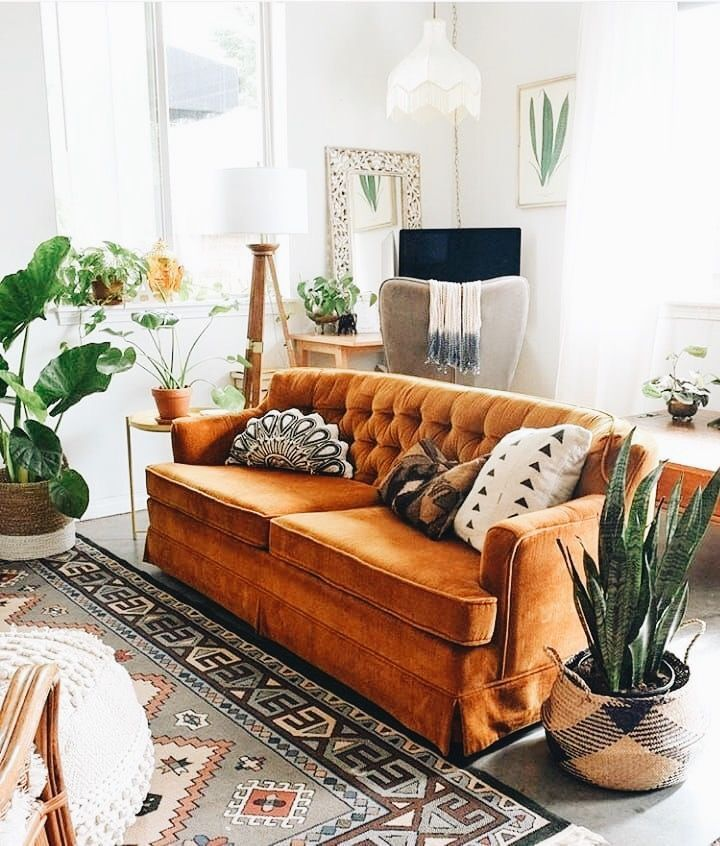 orange velvet couch - bohemian living room decor | Interior ...