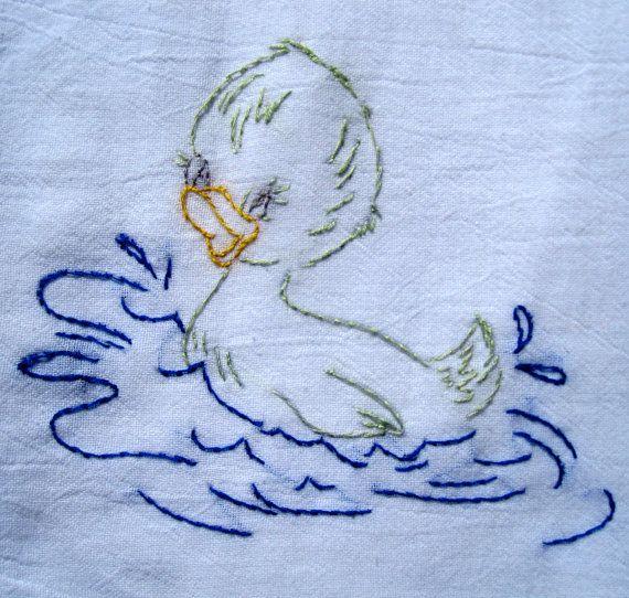 bath duckie hand embroidered dish towel by EarthDragonStudios, $9.95