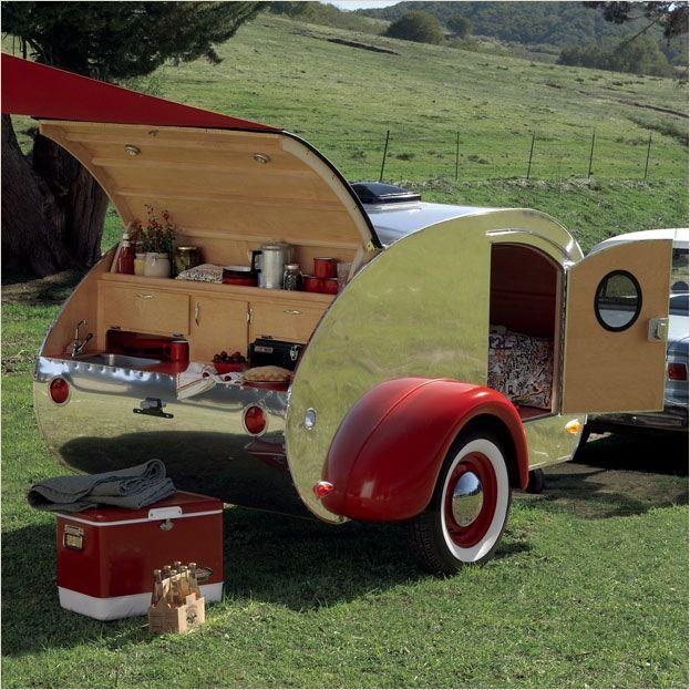 Compact teardrop caravan.
