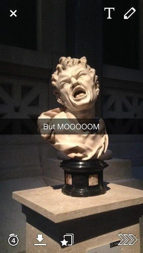 But MOOOOOM ~ 29 art history Snapchats that will give you life ~ This one and the Single Ladies. XD