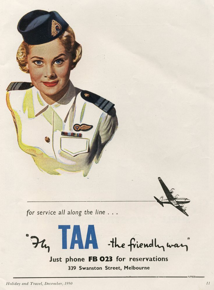 TAA 1950 Fly TAA the friendly way. Trans Australia Airlines (original image by Ralph Malcolm Warner, 1902-1966).