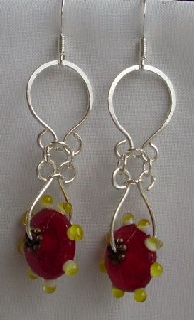 Red and yellow bead and silver wire earrings handmade by me, Nikki OBrien from Bubbles and Beads