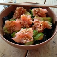 Sushi in a bowl.