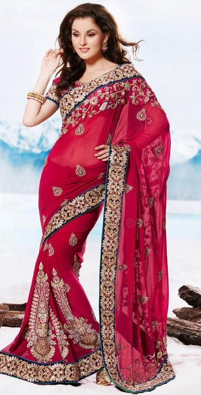 Red Embroidered Wedding Saree 26154
