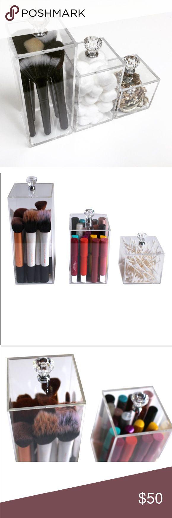 3 piece acrylic makeup organizer 3 piece acrylic makeup organizers. This  set offers (3