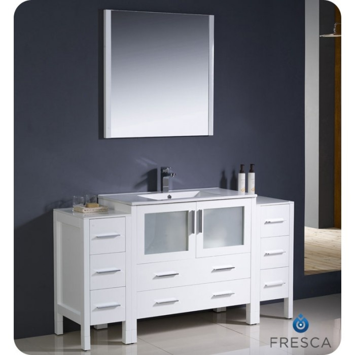 fresca torino 60 white modern bathroom vanity side cabinets u0026 integrated sink
