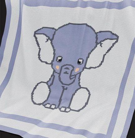 Knitting Pattern | Baby Blanket / Afghan - Blue Elephant