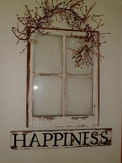 Old window with my handmade sign! i love this but with pic of the kids!! there is enough for 4 :)