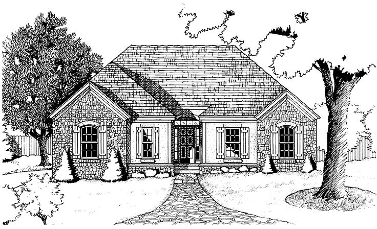 French country house plan with 1472 square feet and 1 for Home source com