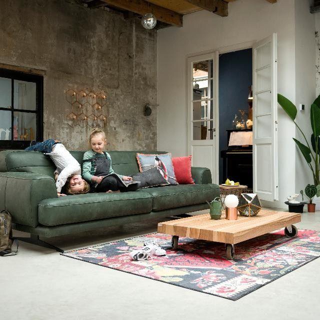 XOOON - Canapé PHOENIX 3.5 places en tissu au look vintage. Un style luxueux et brut