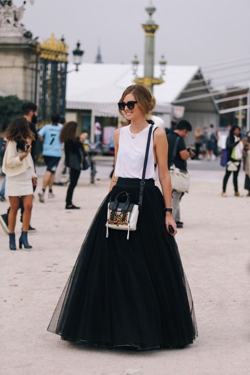 this is how to dress up a white tank/ dress down a gown-like skirt.