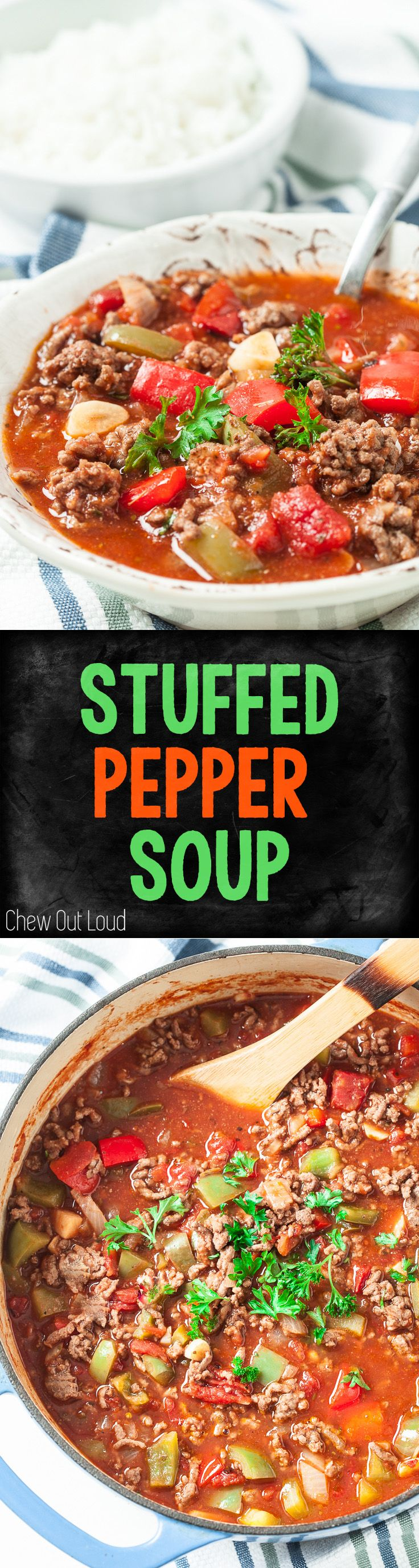One-Pot Stuffed Pepper Soup. Easy, Healthy, Delicious. ADD Cauliflower rice
