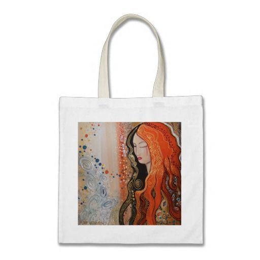 Budget Tote Ginger Lady Elegant Art Nouveau orange Tote Bags