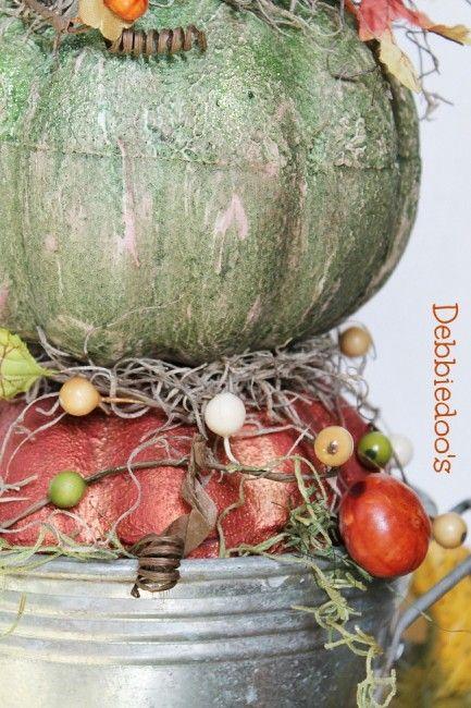 Dollar tree pumpkin topiary - Debbiedoo's