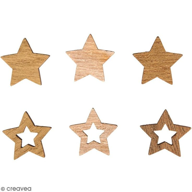 Miniaturas de madera - Estrellas - 2 cm - 24 uds