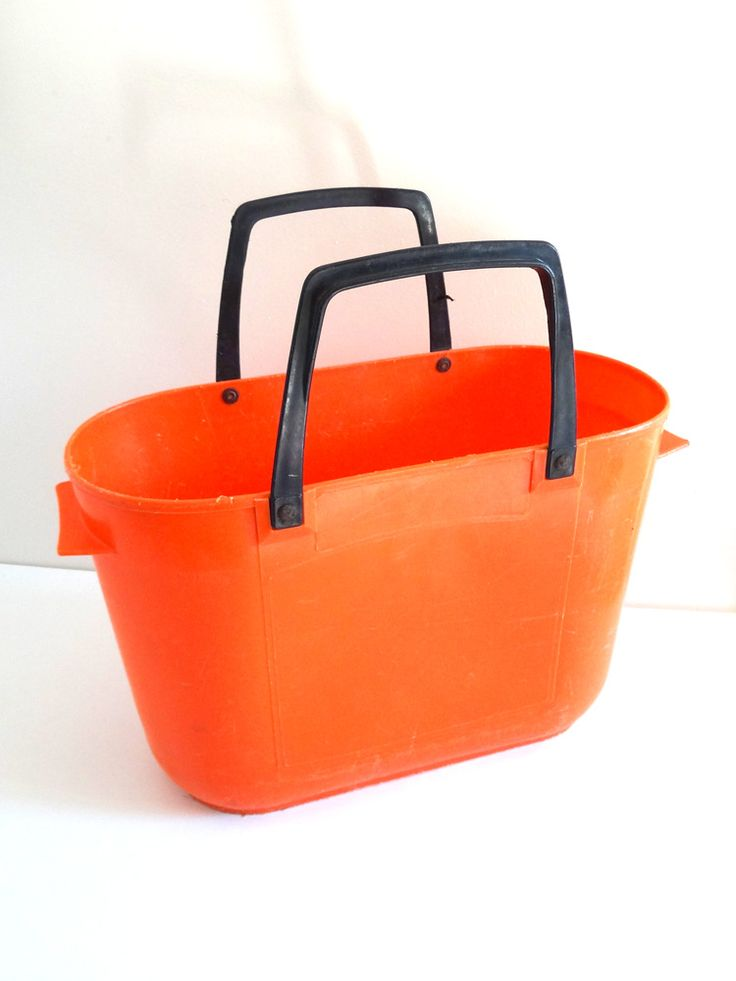 Panier à provisions vintage années 70 orange