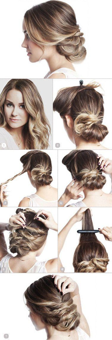 Pinned-Up Bun Hairstyle. Step by step updo for women. Night hairdo to copy if you have long hair.