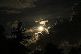 Night, Moon, Clouds, Sky, Mood, Silent