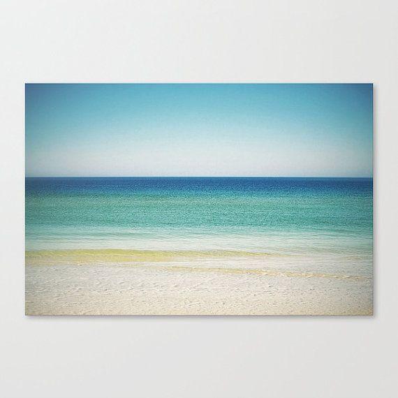 Large Canvas, Nautical Coastal Beach Surf Ocean Landscape Decor Hanging Wall Art Canvas, Turquoise Blue Green & Sand, 8x10 11x14 16x20 20x30...